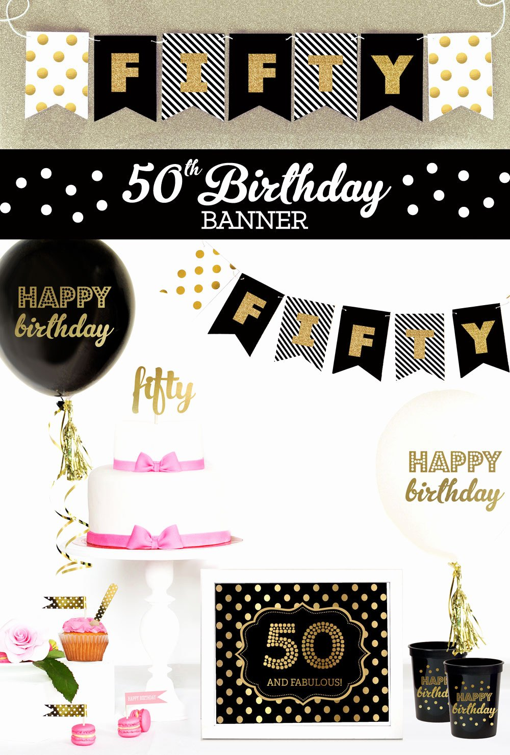50th Birthday Banner Ideas Lovely Happy 50th Birthday Banner 50th Birthday Decorations 50th