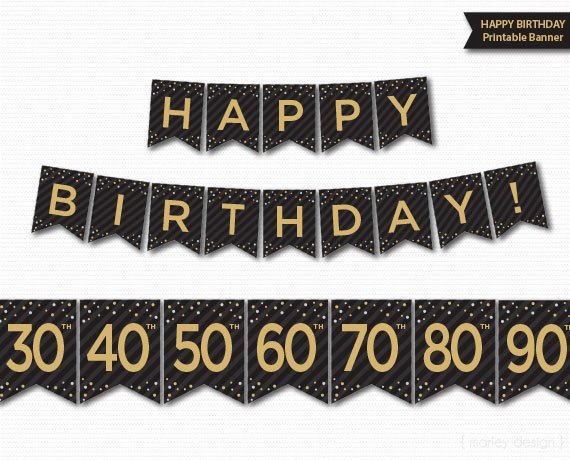 50th Birthday Banner Ideas Lovely Happy Birthday Banner Printable 30th 40th 50th 60th 70th