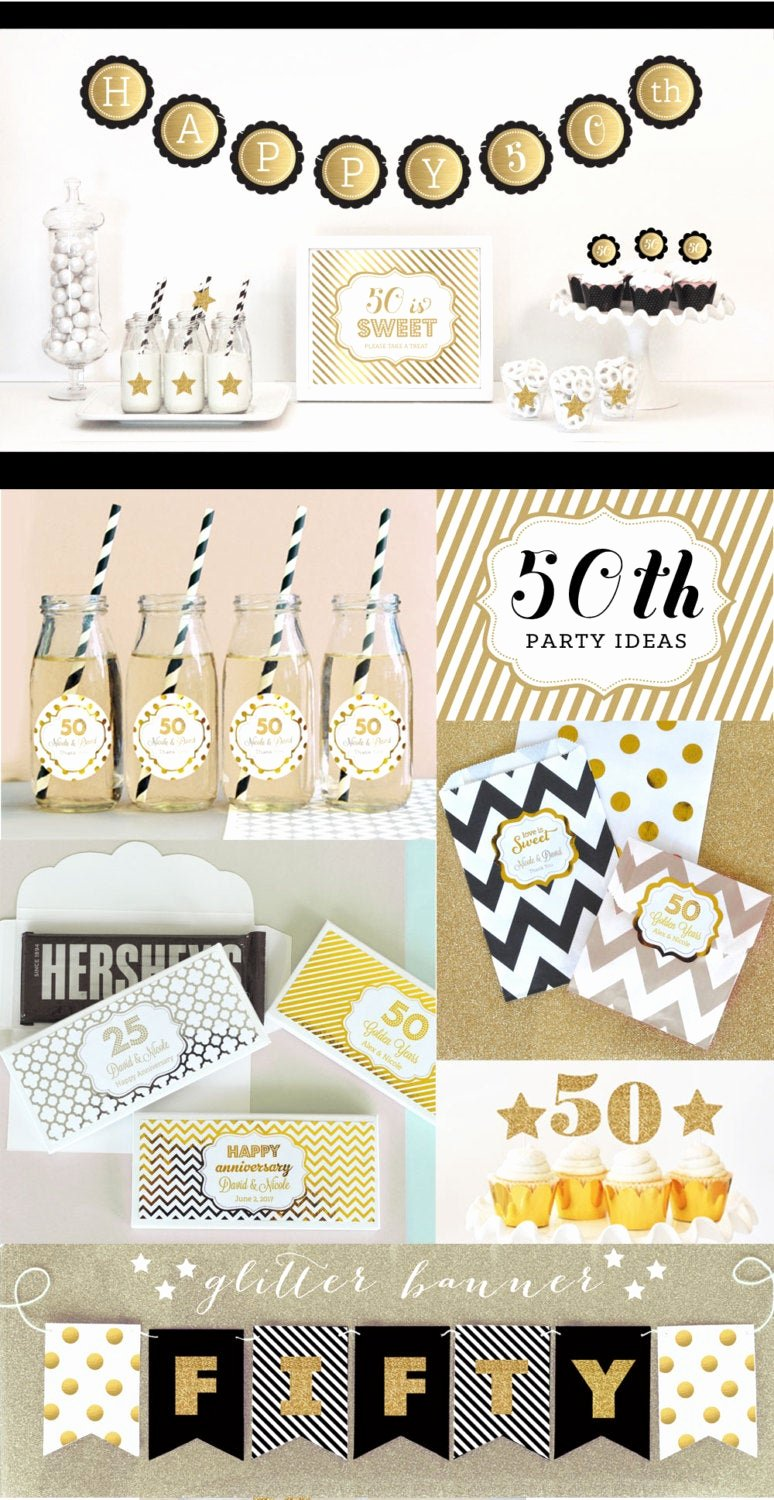 50th Birthday Banner Ideas New 50th Birthday Banner Fifty Birthday Gold Glitter by Modparty