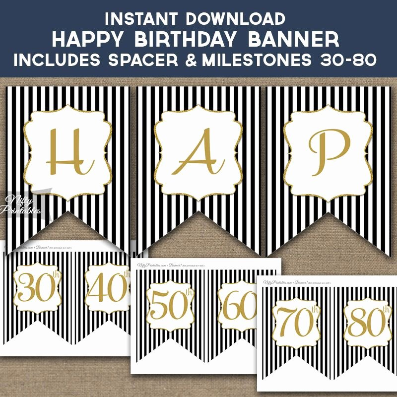 50th Birthday Banner Ideas New Birthday Banner Printable Happy Birthday Banner Black