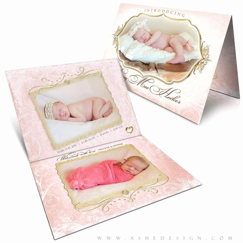 5x7 Folded Card Template for Word Fresh ashe Design Birth Announcement 5x7 Folded