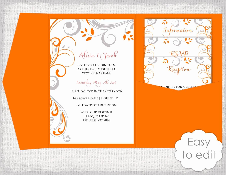 5x7 Folded Card Template for Word Fresh Invitation Pocket Templates Diy orange & Gray Pocket Wedding