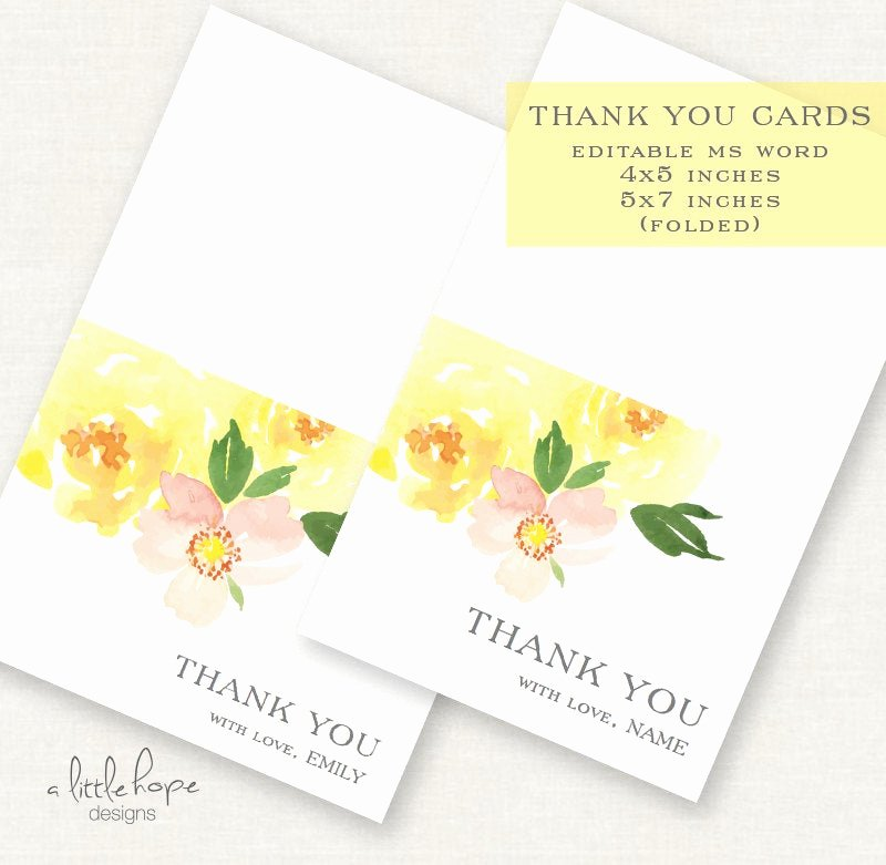 5x7 Folded Card Template for Word Unique Editable Printable Floral Thank You Cards Instant