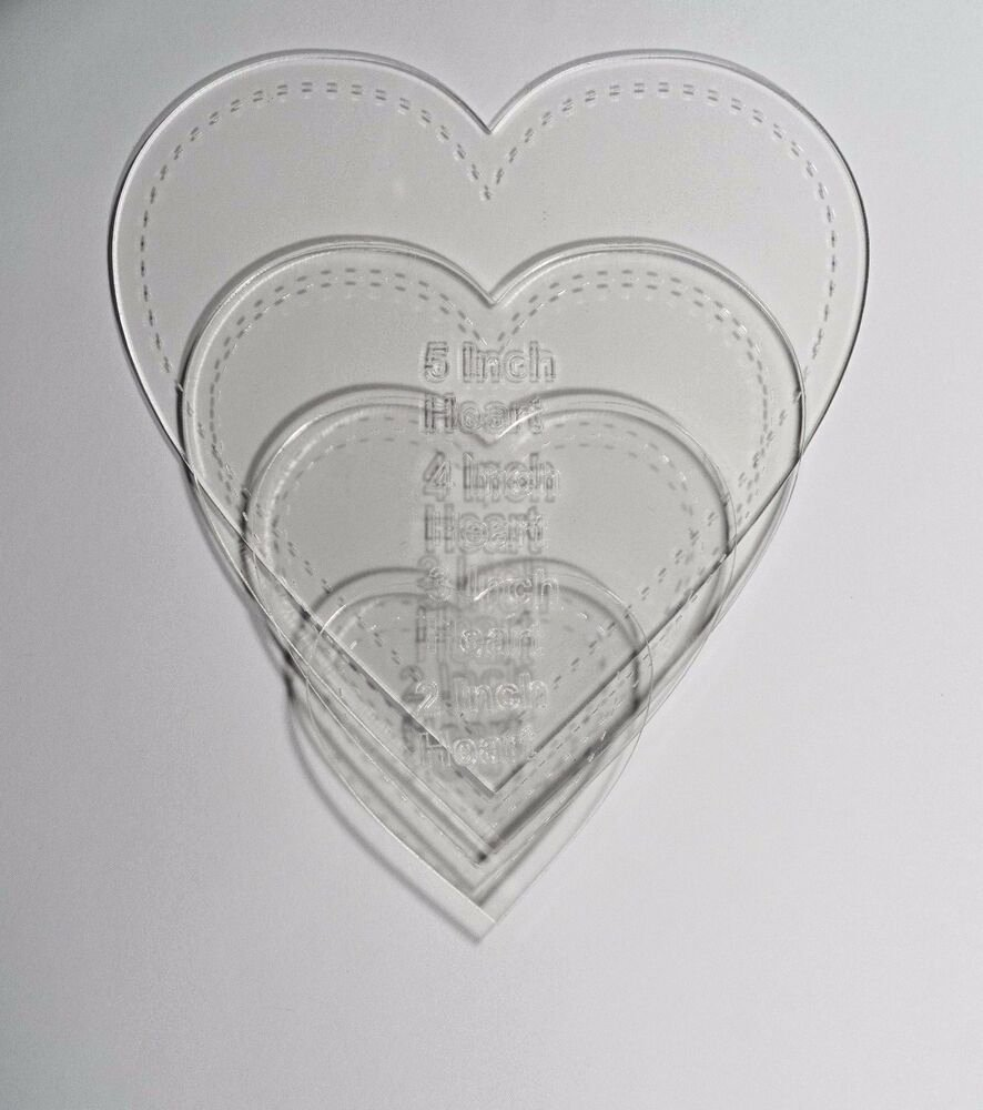 "6 Inch Heart Template Fresh 1 8"" Clear Acrylic Laser Cut Quilting Templates Hearts 2"