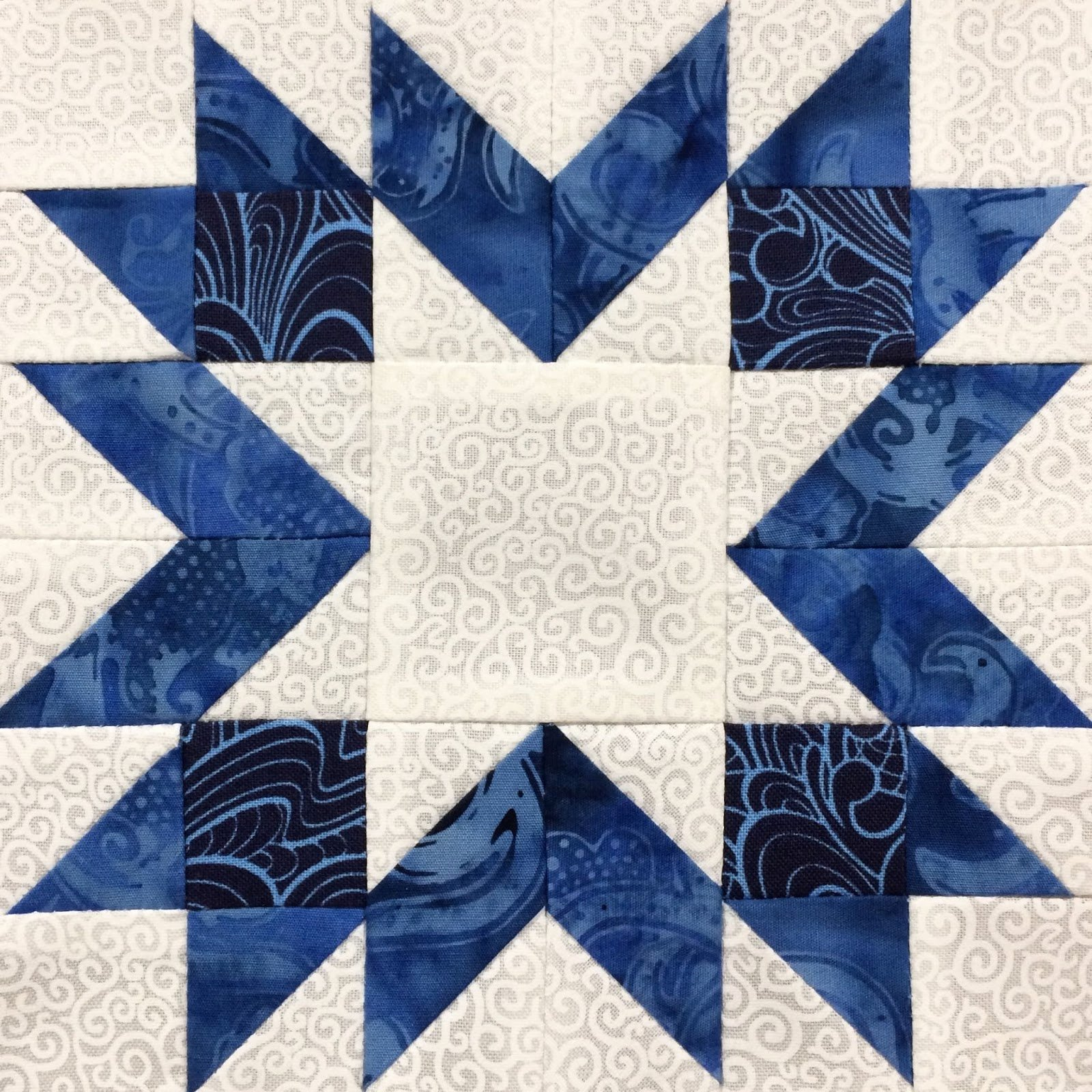 6 Inch Star Best Of Hand Made Karma Blue & White Sampler Six Inch Blocks