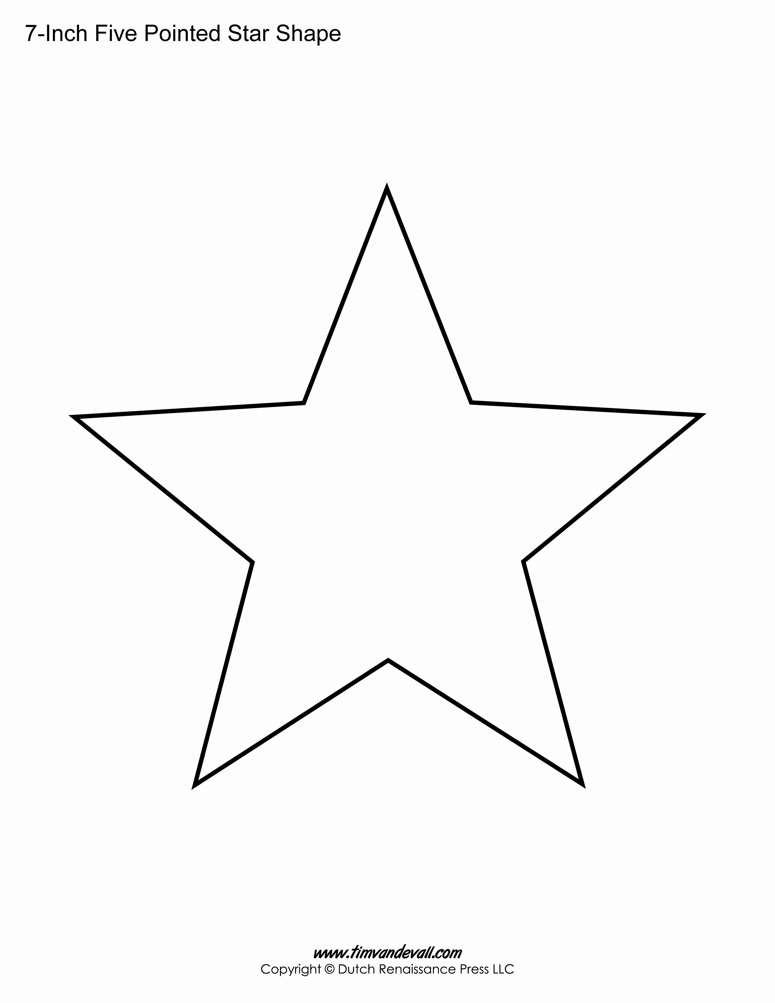6 Inch Star Elegant Printable Five Pointed Star Templates Blank Shape Pdfs