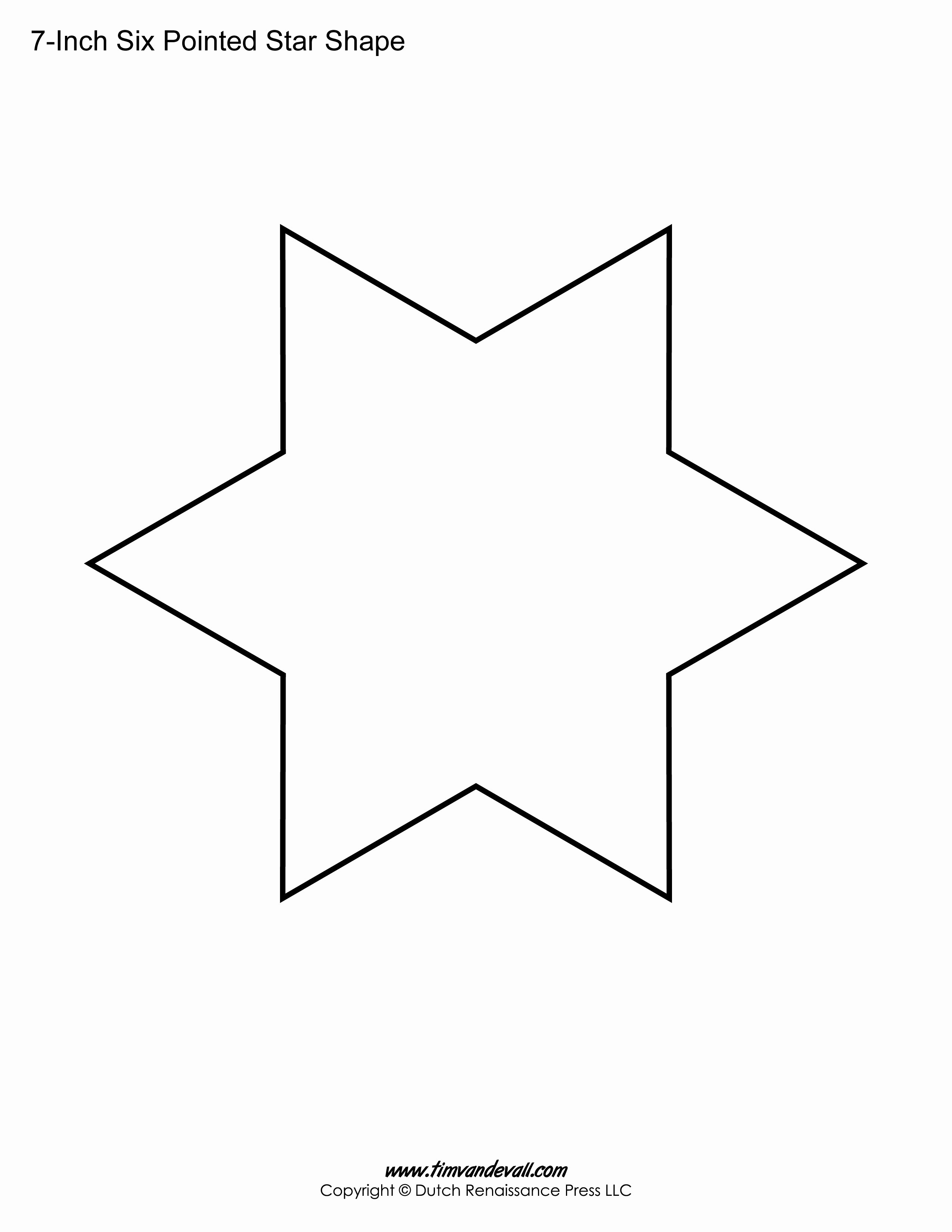 6 Inch Star Elegant Printable Six Pointed Star Templates – Tim S Printables