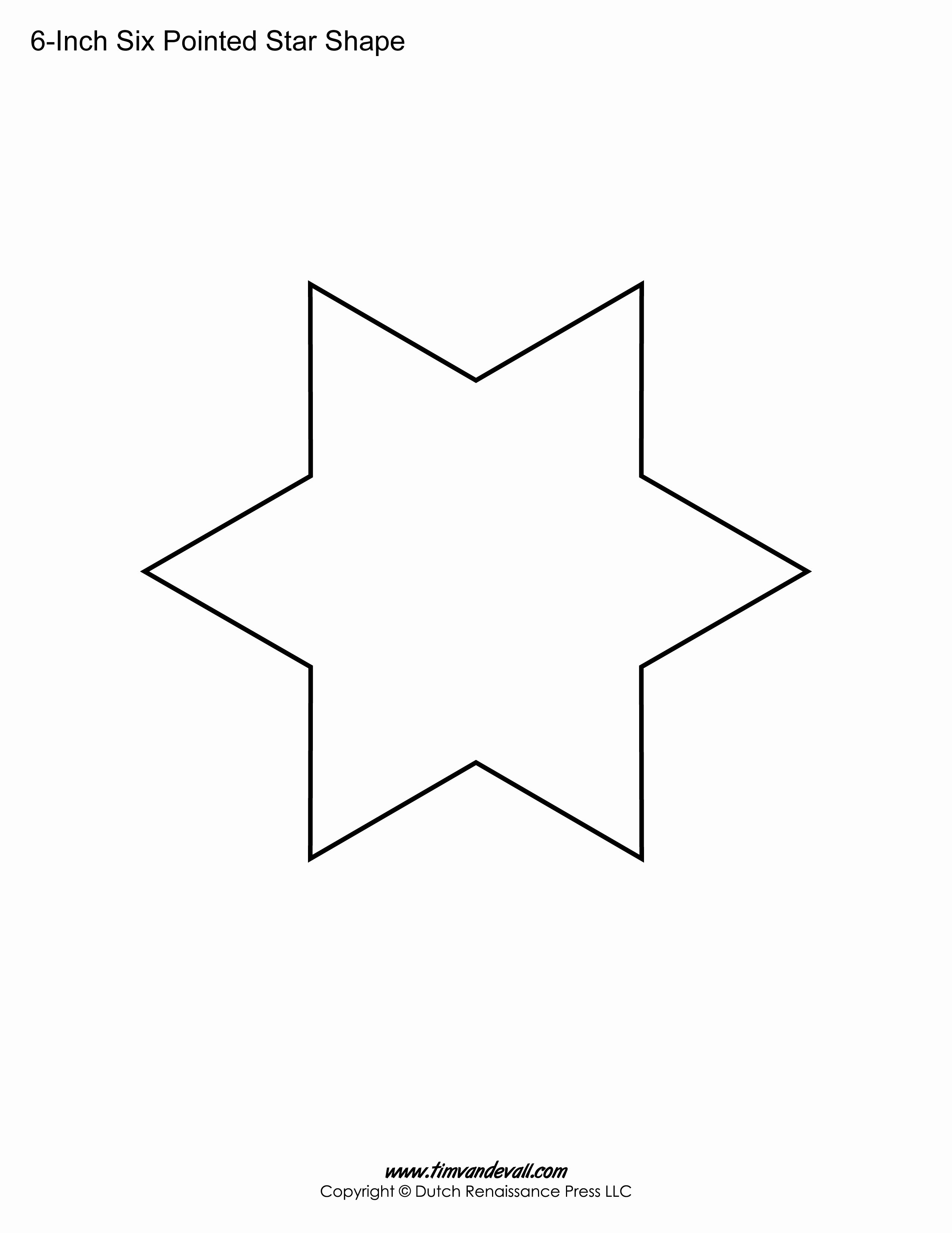 6 Inch Star Unique Printable Six Pointed Star Templates