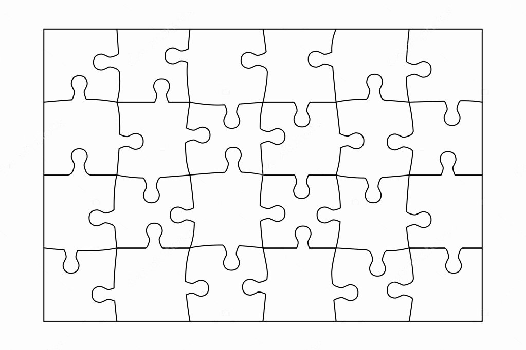 8 Piece Puzzle Template Luxury Jigsaw Puzzle Template 24 Pieces Vector — Stock Vector