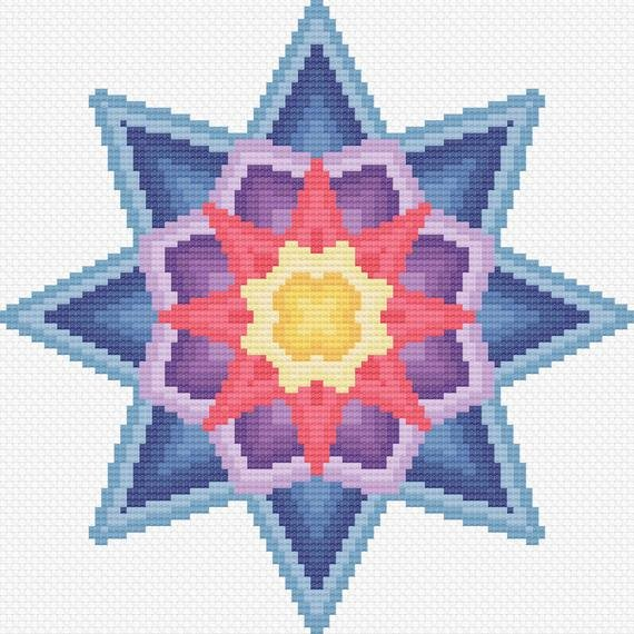 8 Point Star Template Beautiful 8 Point Star Cross Stitch Pattern Instant Pdf Download