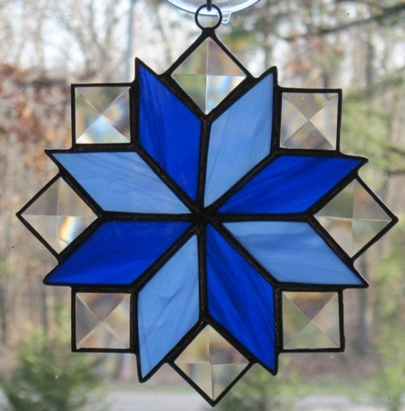 8 Point Star Template Fresh Stained Glass Suncatcher Quilt Pattern 8 Point Star In Blue