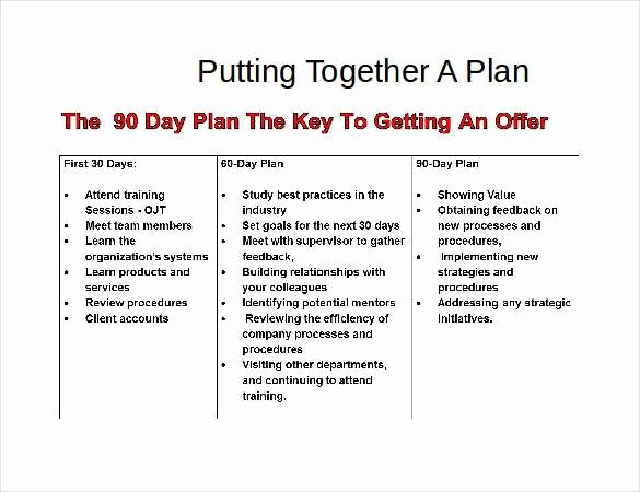 90 Day Goals Template Elegant 90 Day Business Plan Template for Interview – Youwin