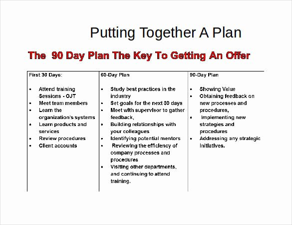 90 Day Goals Template Inspirational 31 30 60 90 Day Plan Templates Pdf Doc