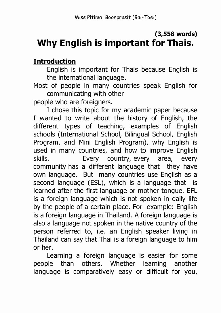 About Me Paper Example Awesome why English is Important for Thais