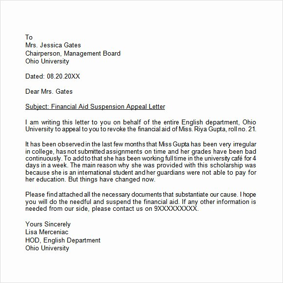 Academic Appeal Letter Sample Awesome Appeal Letter 12 Free Samples Examples format