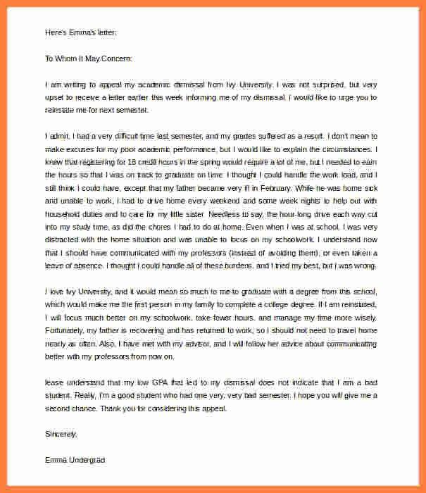 Academic Appeal Letter Sample Inspirational 9 Academic Appeal Letter