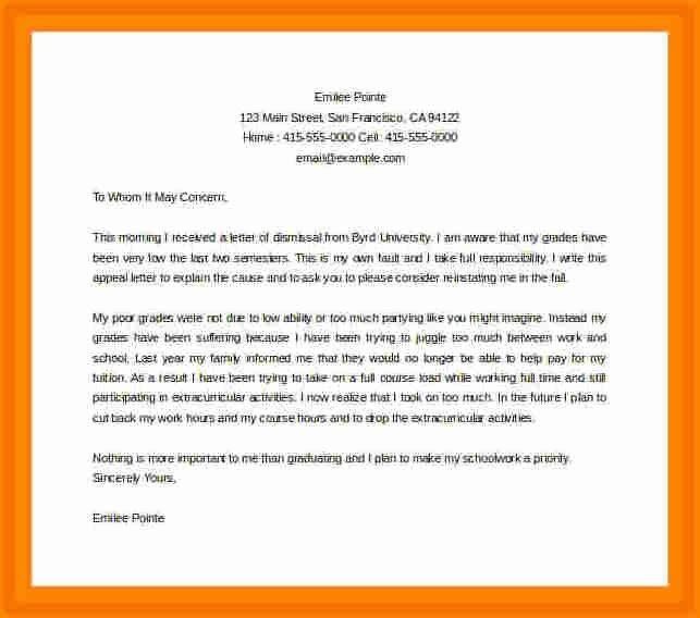 Academic Appeal Letter Sample Luxury 10 Academic Suspension Appeal Letter Sample