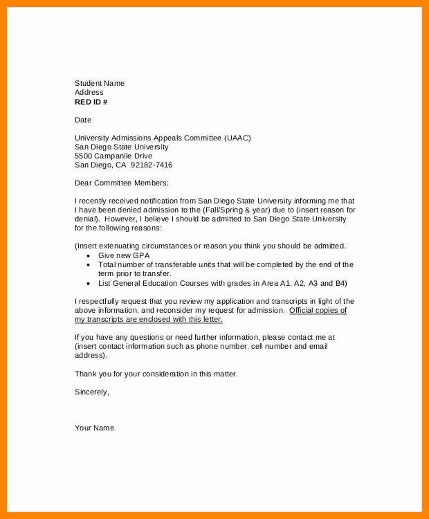 Academic Appeal Letter Sample Unique Appeals Letter Sample Academic Appeal Letter Example
