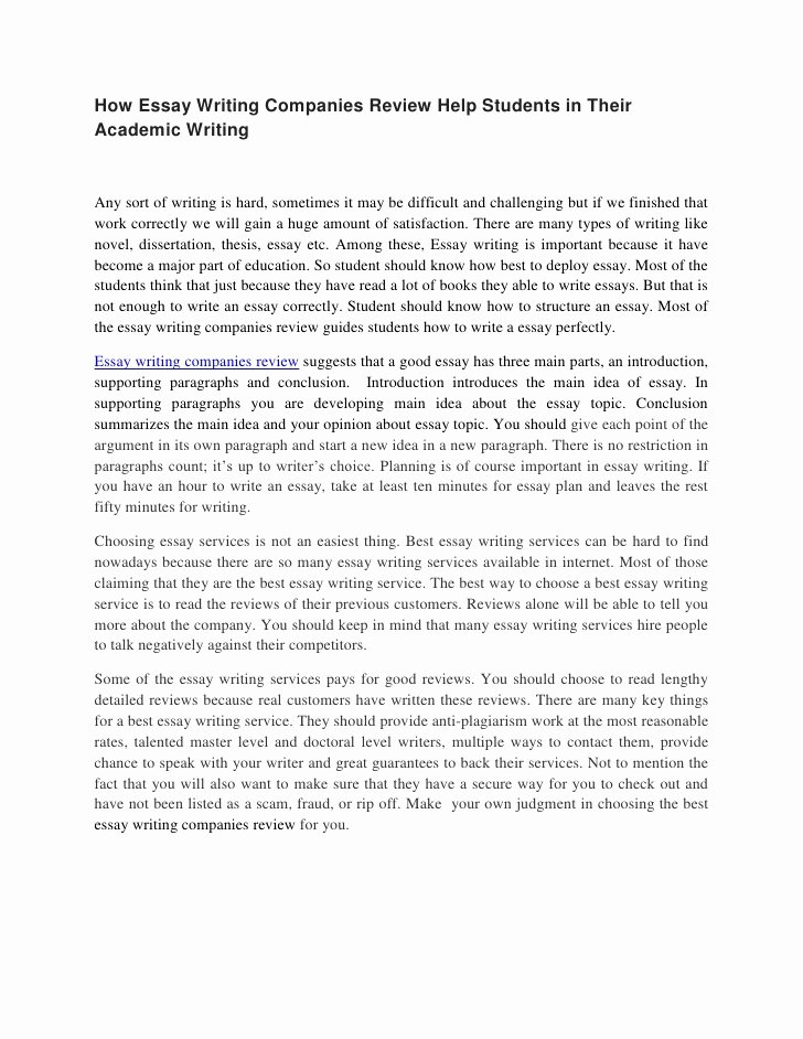 Academic Writing Sample Essay Awesome How Essay Writing Panies Review Help Students In their