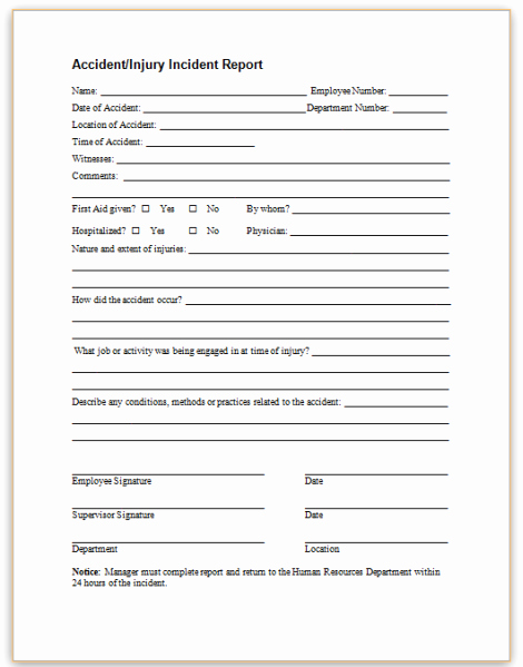 Accident Report form Lovely This Sample form May Be Used to Promptly Report Employee