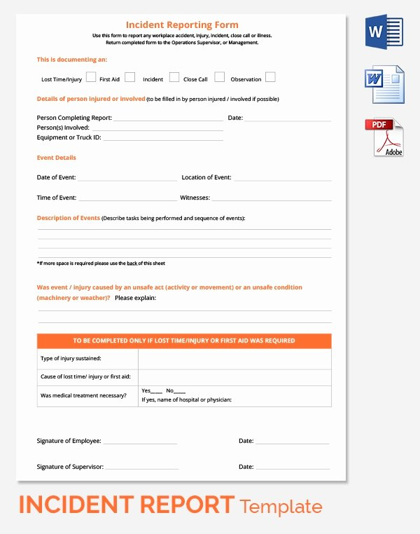 Accident Report form New Incident Report Template 39 Free Word Pdf format