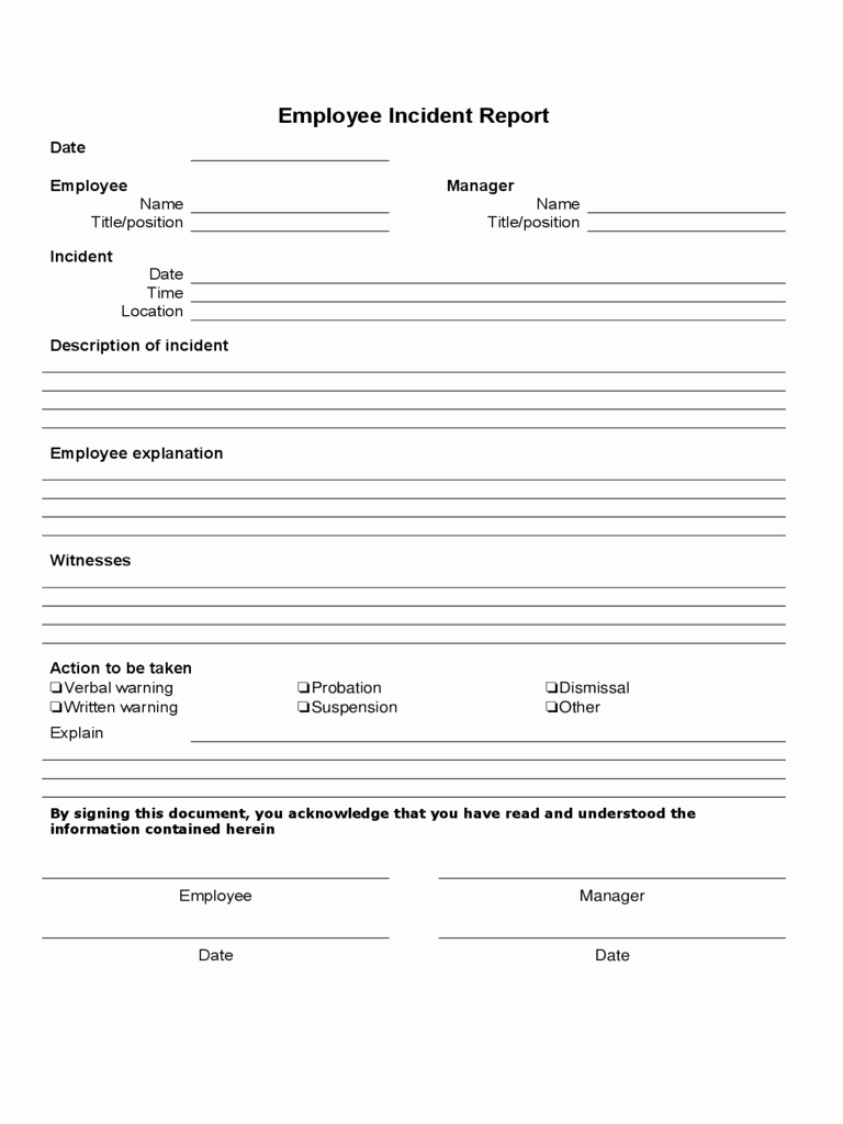 Accident Report form Pdf Awesome Employee Incident Report Pdf