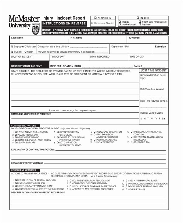Accident Report form Pdf Lovely Sample Incident Report form 11 Free Documents In Pdf