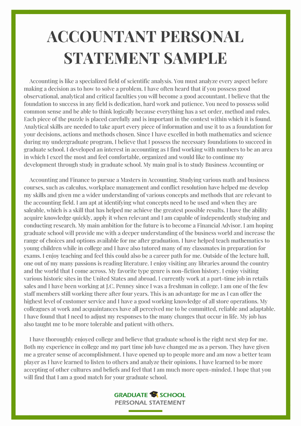Accounting Career Goals Essay Elegant What is An Example Of A Good Personal Statement Quora