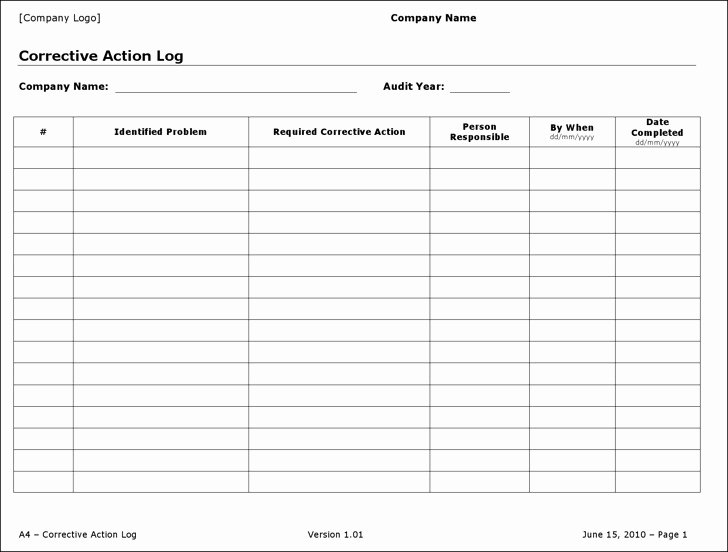 Action Log Template Beautiful 4 Action Log Templates Free Download