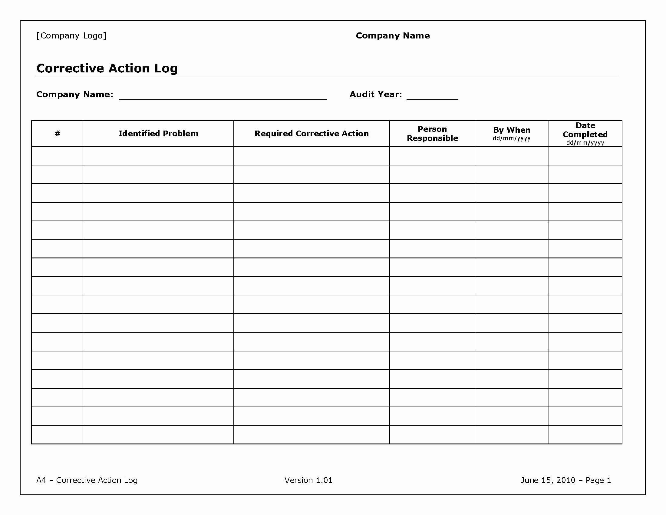 Action Log Template Beautiful Corrective Action Log Template Pdf format