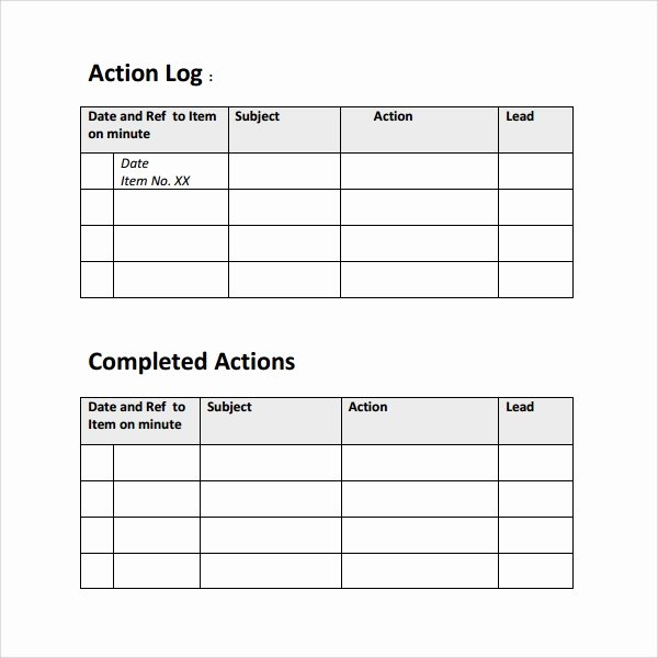 Action Log Template Beautiful Sample Action Log Template 8 Free Documents In Pdf