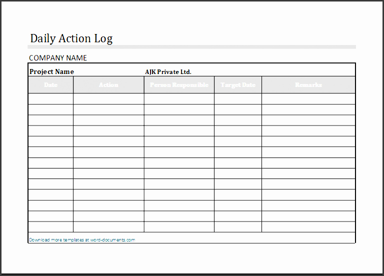 Action Log Template Best Of 6 Fice Work Log Template Sampletemplatess