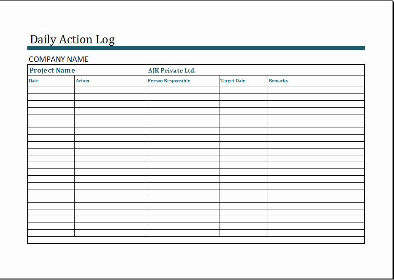 Action Log Template Best Of Ms Excel Daily Action Log Template