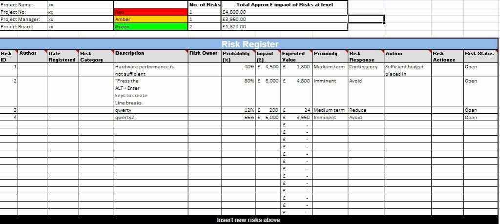 Action Log Template Luxury format Of Risk Register Template – Analysis Template