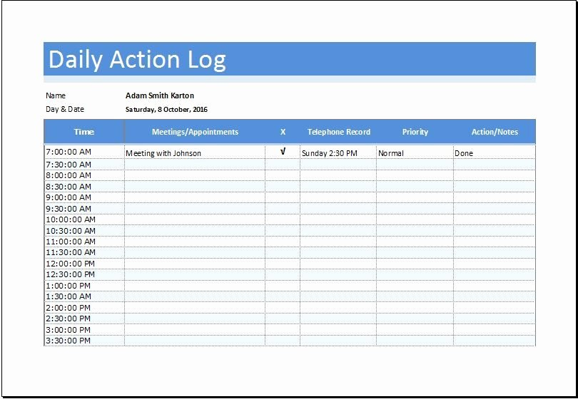 Action Log Template Unique Daily Action Log Sheet Download at