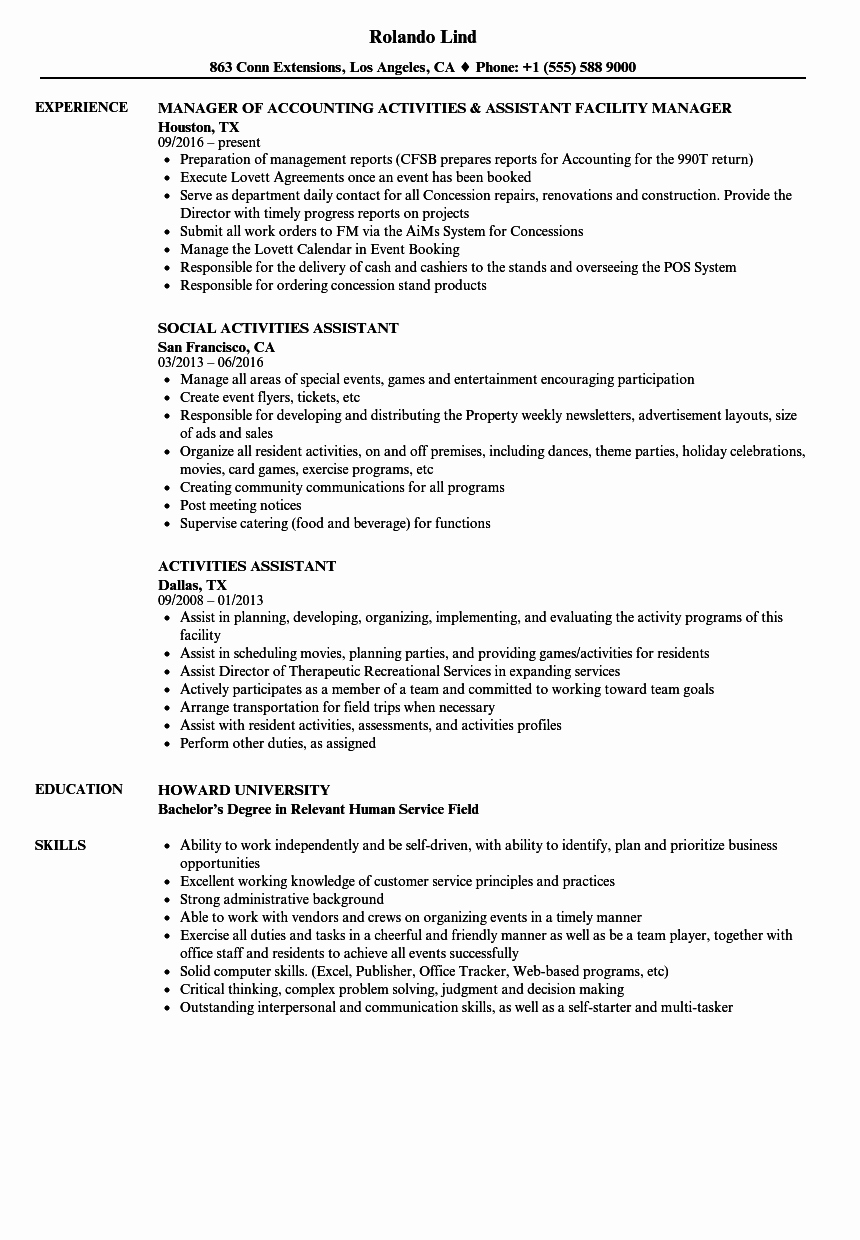 Activities Resume Template Best Of Activities assistant Resume Samples