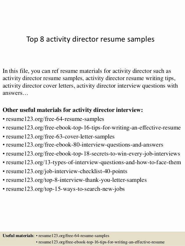 Activities Resume Template Fresh top 8 Activity Director Resume Samples