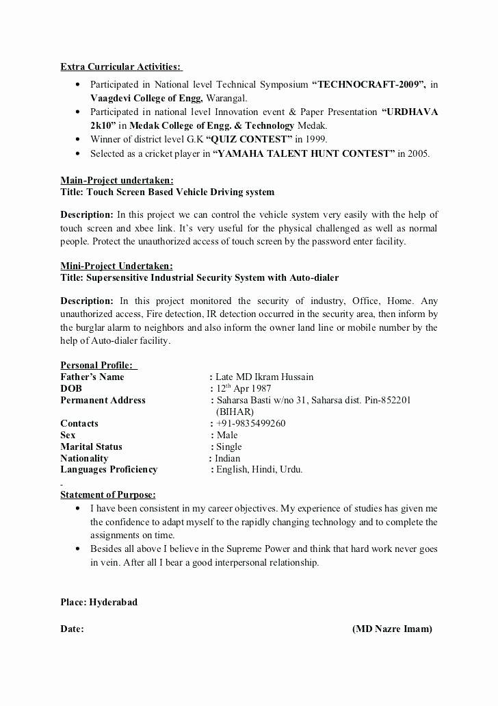 Activities Resume Template Inspirational 18 Extra Curricular Activities Cv
