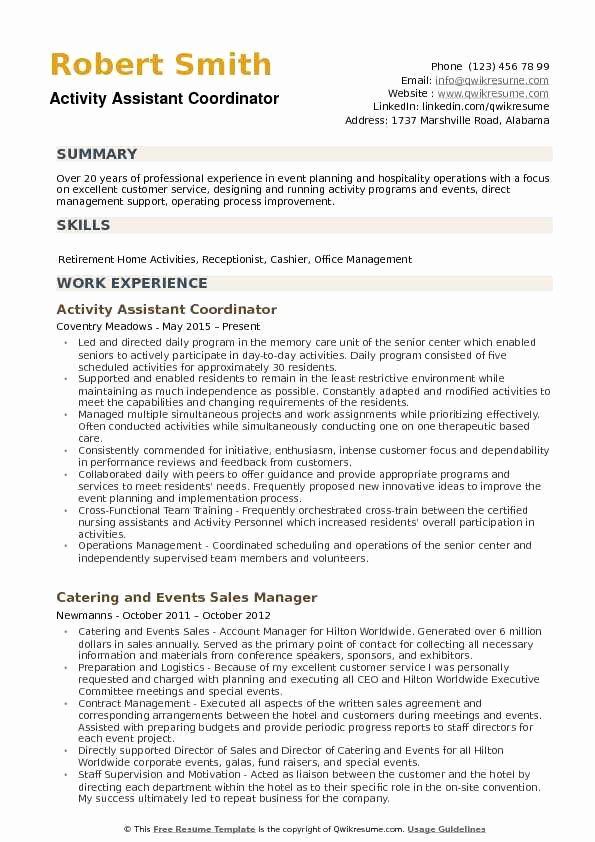 Activities Resume Template Luxury Activity assistant Resume Samples