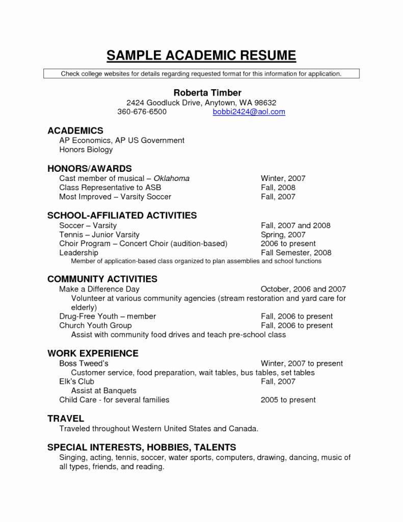 Activities Resume Template Luxury Resume Examples Sample Academic Resume Academics