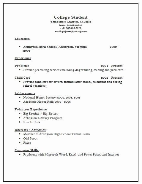 Activities Resume Template New High School Activities Resume Template