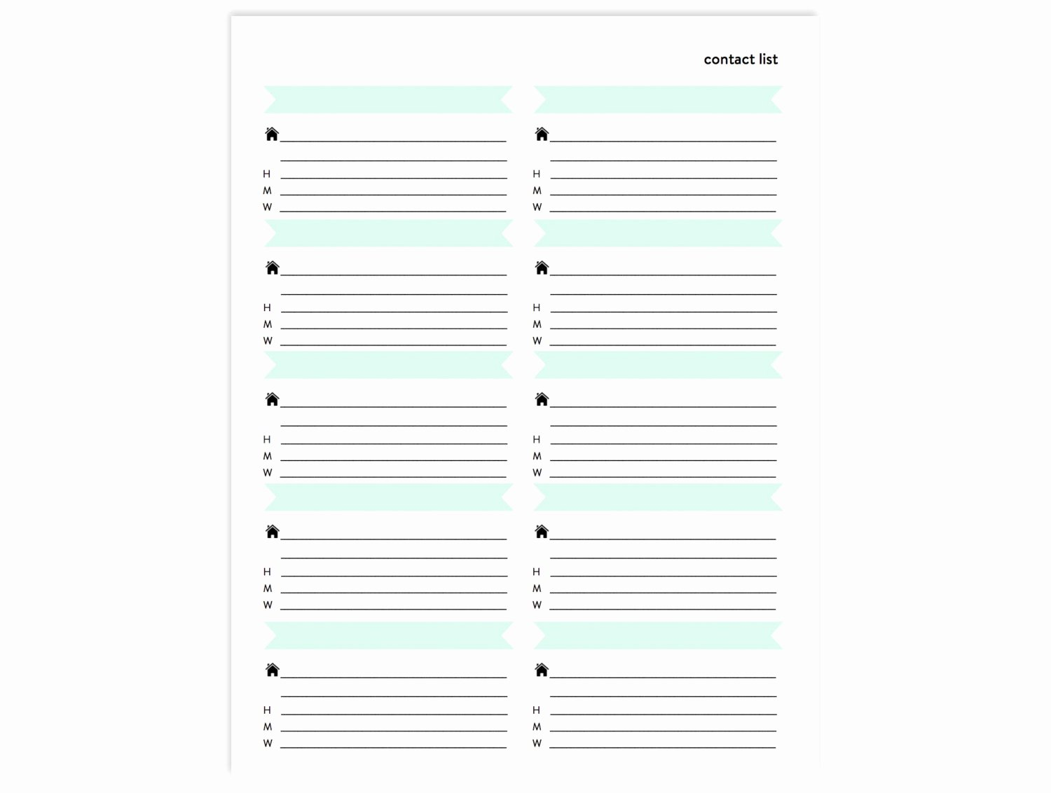 Address Book Template Free Beautiful Contact List Printable Address Book Page Instant Download