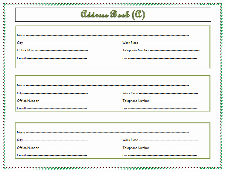 Address Book Template Free Best Of Address Book Template Record Your Important Addresses