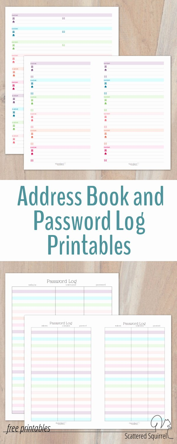Address Book Template Free Elegant Colourful Address Book and Password Log Printables