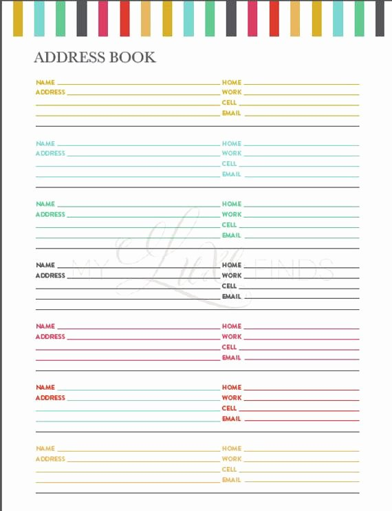Address Book Template Free Elegant Items Similar to Address and Phone Book organizer