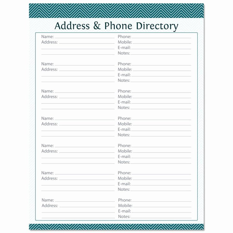 Address Book Template Free Lovely Address & Phone Directory Fillable Printable Pdf by