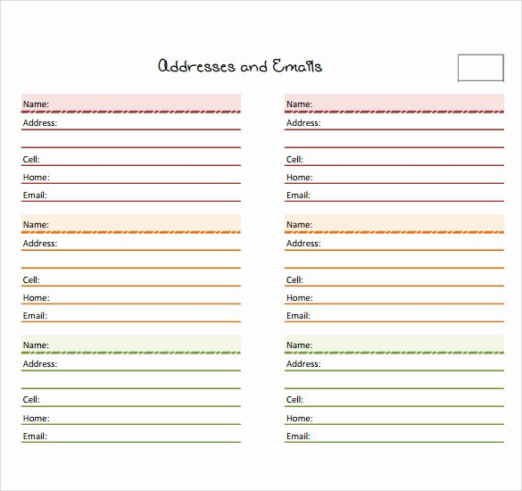 Address Book Template Free New Sample Address Book 9 Documents In Pdf Word Psd