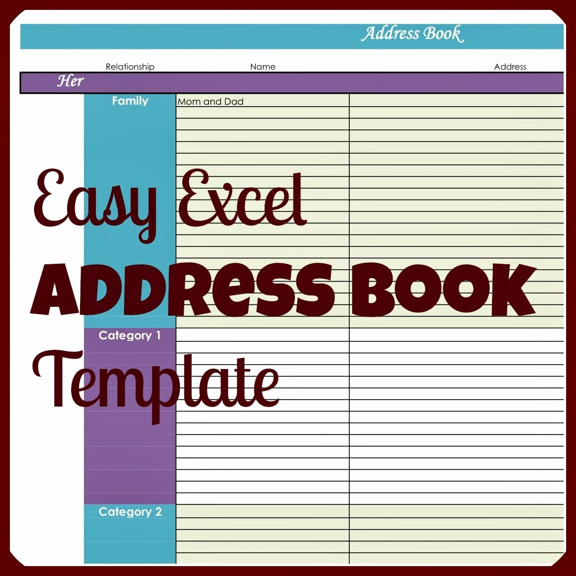 Address Book Template Free Unique Laura S Plans Easy Excel Address Book Template