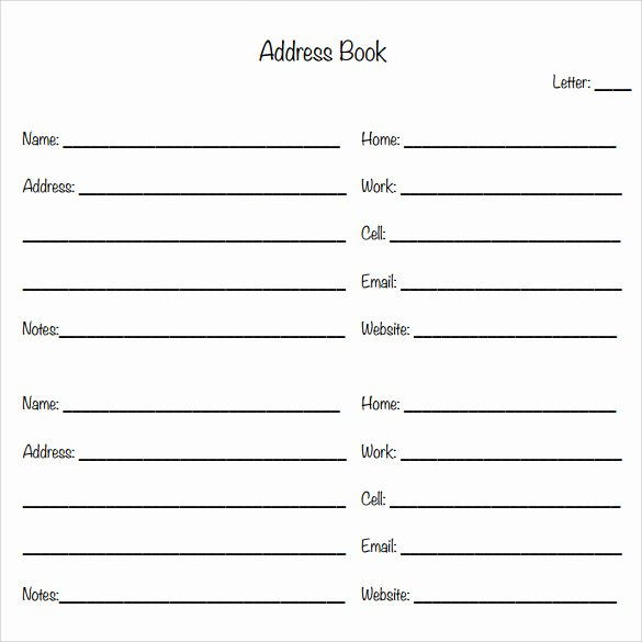 Address Book Template Free Unique Sample Address Book 9 Documents In Pdf Word Psd