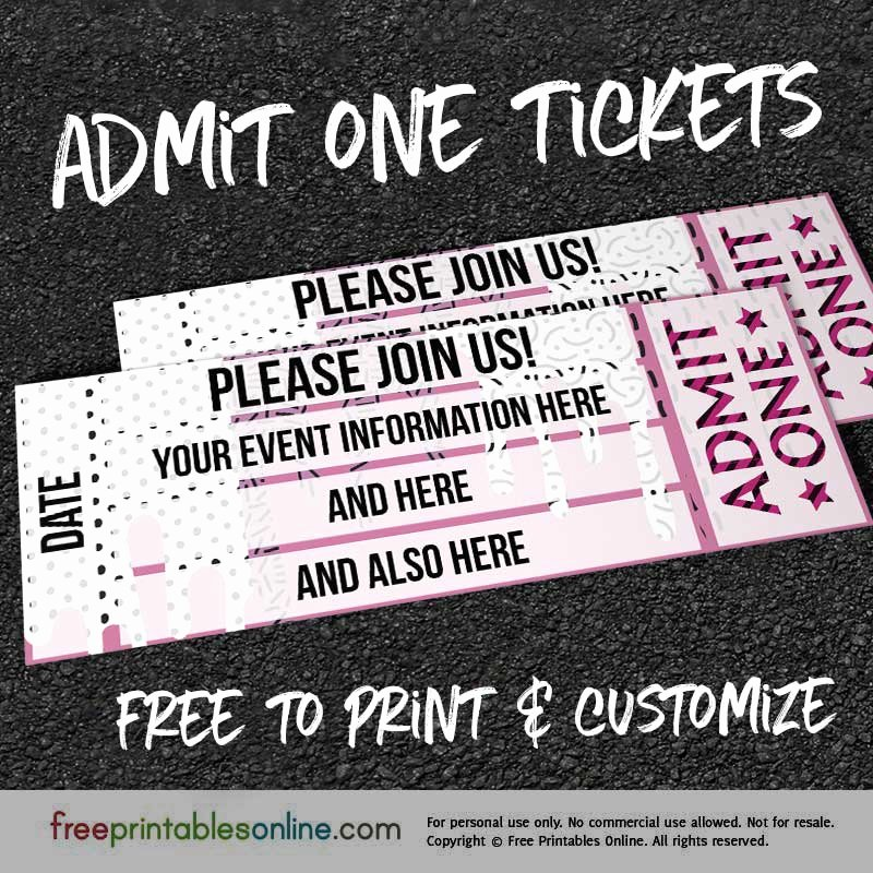 Admit One Ticket Printable Awesome Drip Drop Admit E Ticket Template